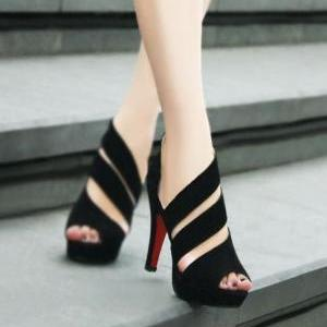 New Stylish Handmade Black Straps High Heel Sandals ZX925J