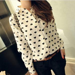 Heart-shaped printed long-sleeved chiffon blouse CX109B
