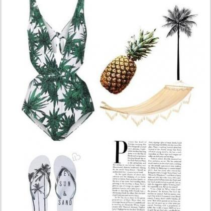 Palm Print Plunge V One-Piece Swims..