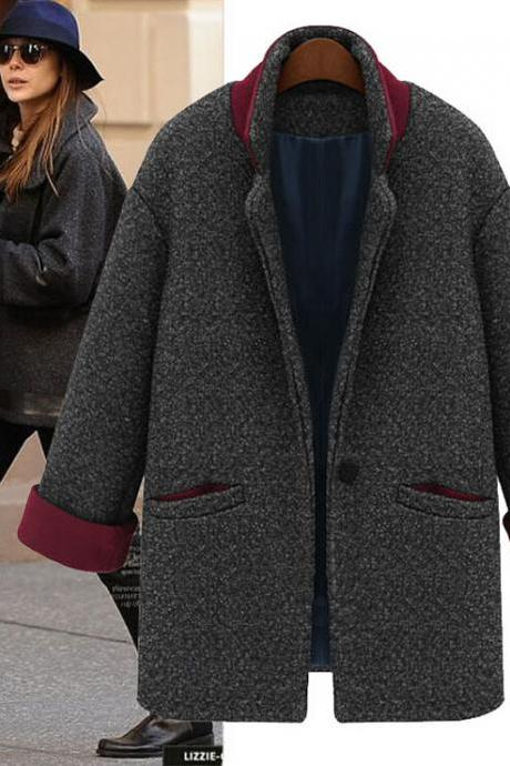 Fashion stitching woolen coat 6109970