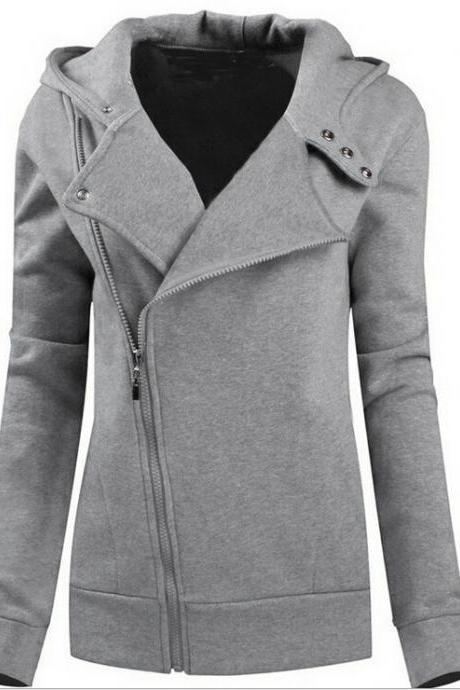 Fashion Zipper Solid color hooded sweater 6681294