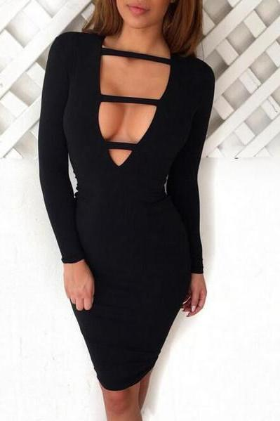 Long Sleeve Bodycon Deep V Bandage Dress [OM160562]