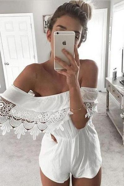 Strapless Lace Boat Neck Rompers Jumpsuit [OM160560]