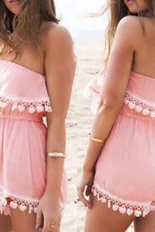 Pink Chiffon Strapless Straight Across Romper Featuring Tassel Trimmed
