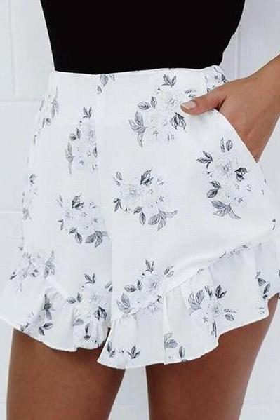 White Floral Print High Rise Ruffled Shorts