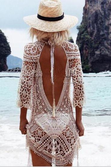 Sexy Hollow Out Crochet Lace Long Sleeve Dress OM160709