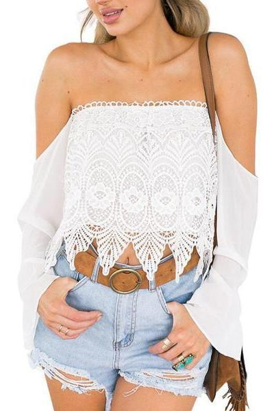 White Off-the-Shoulder Lace Top with Bell Sleeves